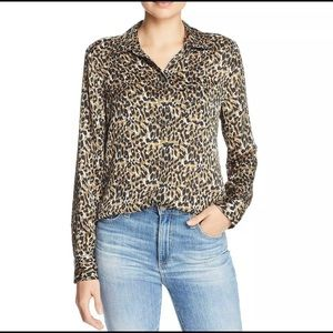 🤎Equipment leopard print silk blouse XS